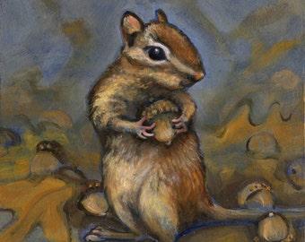 Chipmunk, Oil Painting
