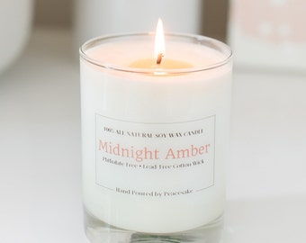 Midnight  Amber Candle / 14oz Scented Soy Candle / Amber, Musk and Sandalwood Scent /  Free of Toxins and Phthalates