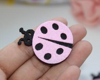 50 nonwovens applique Pink Ladybug for Scrapbooking