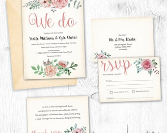 Invitation Set Printable, Floral Bridal Stationery Flowers Leaves RSVP Wishing well A6 A5 Vintage Antique 40th old paper
