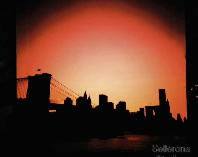 Featured listing image: Brooklyn Bridge at Sunset- Giclée Print - New York City Photography - Square Photo