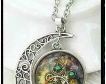 Unique Moon Clock Cabochon Necklace