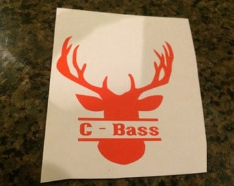 Personalized Deer Head Name Sticker (2 style options)