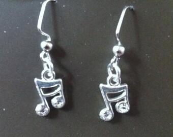 Music Note Earrings with rhinestones