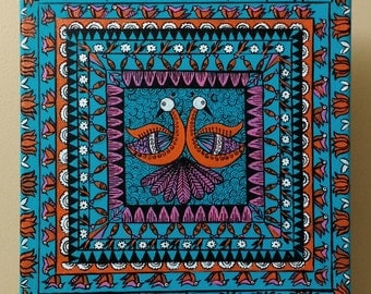 Folk painting, Madhubani, Original, Hand painted in Acrylic colors on stretched canvas 10 in X 10 in, Teal decor, Folk art, Gift for mom
