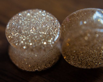 Gorgeous, elegant, super sparkly, gold color  ear plugs, Multiple Sizes