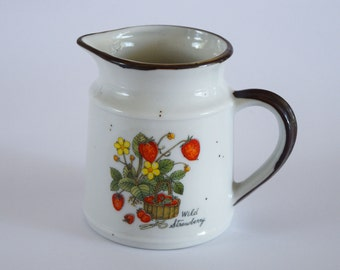 Vintage ceramic strawberry pitcher and canister with lid