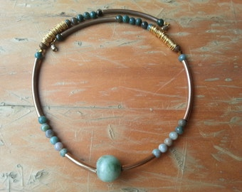 African Style Agate and Gold Tubes Necklace