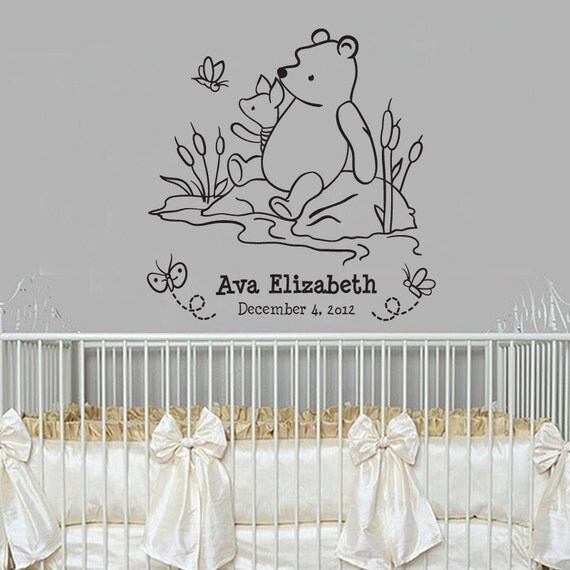 Classic winnie the pooh and piglet monogram baby quote vinyl for Classic pooh wall mural