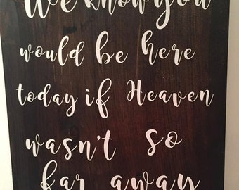 Wedding Decor-If heaven wasn't so far away