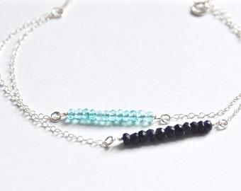 Double strand birthstone bar bracelet