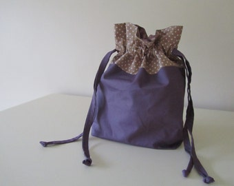 Drawstring Bag, Small Bag,  100% Cotton, Plums and and Tangled Leaf fabric collection