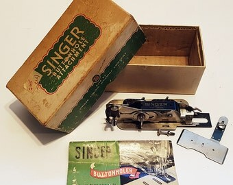 1940s Singer Buttonholer Attachment 121795 in Original Box