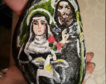 St. Scholastica and St. Benedict painted garden stone / rock or paperweight