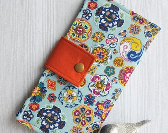 Abstract floral circles Womens wallet, bifold clutch wallet, fabric handmade wallet, cash credit card wallet, checkbook wallet, gift idea