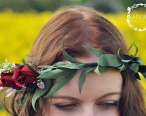 Red Rose Tie-back Garland Wreath Headband for Weddings & Special Occasions
