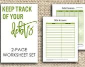 Printable Debt Worksheets, 2-Page Set