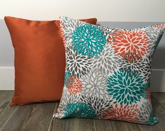 Orange and Teal Decorative Pillows - Decorative Throw Pillows-  Outdoor Pillow - Orange Outdoor Pillow - Orange andTeal Outdoor Throw Pillow