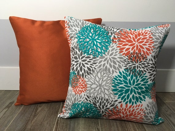 Teal And Orange Decorative Pillows : Orange and Teal Decorative Pillows Decorative Throw Pillows