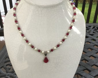 Ruby Necklace with Swarovski Crystals