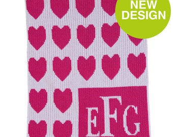 Lots of Hearts Monogram Personalized Stroller Blanket