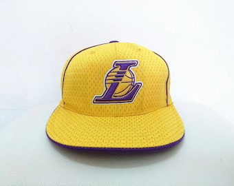Hot Sale!!! Rare Authentic LAKERS NBA Kobe Bryant by Reebok Embroidery Big Logo Basketball Hip Hop Skate Swag Cap 7 (5/8) Size