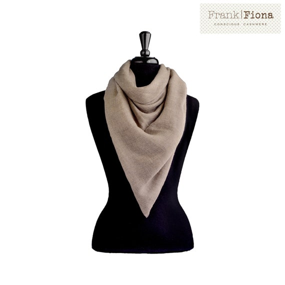 100% Pure Organic Cashmere, Large Shawl, Grade A Mongolian Cashmere, Christmas present,40 x 90 inches,Light Brown,Eco Friendly,Single Ply,1P
