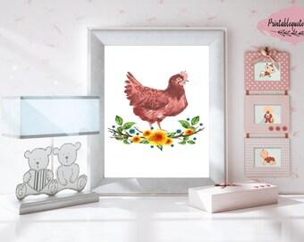 Chicken nursery, Chicken nursery art, Chicken nursery decor,  Chicken art, Chicken print, Printable nursery art, Nursery print, Nursery art