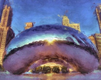 Chicago Cloud Gate Bean Painting Poster Print