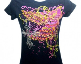 Colorful Wings Cross Rhinestone Fitted Tee