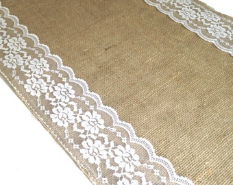 Jute table runner with wide side