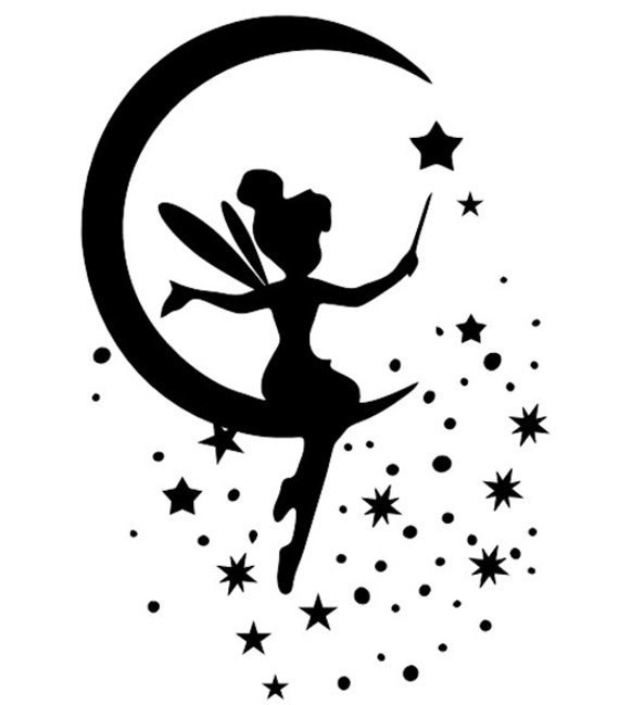 fairy sitting on moon stencil template scrapbooking wall art