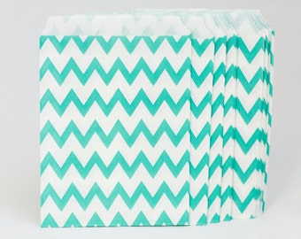 125 Aqua Chevron Paper Bags for Candy Bars, Favors and Packaging Gifts-25 Count 5 inch x 7 inch C9