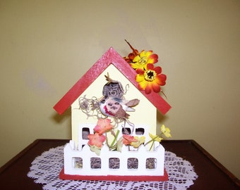 Yellow and Rust Bird House