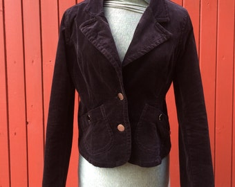 Woman's Classic Velvet Black Corduroy Blazer Dark Jacket  Large size