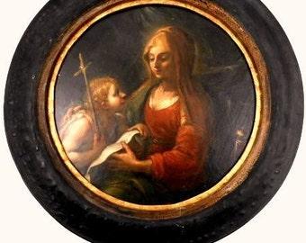 Vierge Marie avec Jean le Baptiste, Tableau Peinture à Huile ancien maître Circa. 1725 1750 Entourage Antonio Pianca Italie .