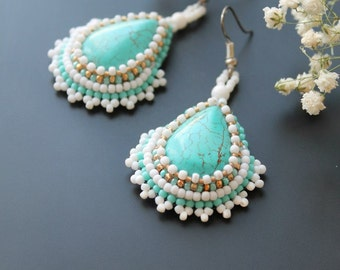 Earrings howlite Earrings Turquoise Handmade earrings Natural stone