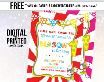 Carnival Birthday Invitation, Circus Invitation, Big Top Party, Circus Invitation, Carnival Birthday