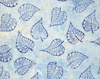 Blue Plant Block Printed Fabric by the Yard