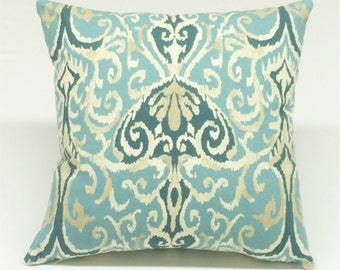 Seafoam ikat print designer decorative pillow toss pillow throw pillow cover