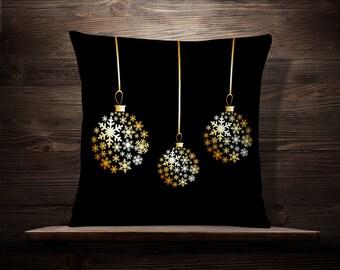 Golden Snowflakes Christmas Ball | Christmas Pillow | Holiday Pillow | Christmas Decoration | Christmas Throw Pillow | Christmas Decor