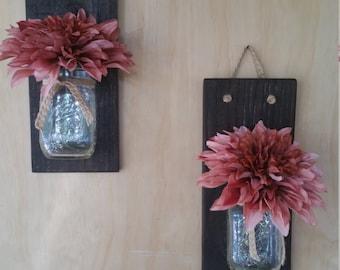 Country decor hanging mason jar flower vase