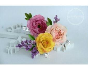 rose hairpin, cold porcelain, flower hairpin, wedding stuff, bride hairpin, bridesmaids hairpin, lilac hair pin, yellow rose pin, ivory rose