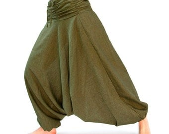 Harem pants made of cotton, unisex in olive