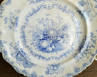 Blue & White Transfer Late 1800s Hot Water Plate – Fruit Basket Motif