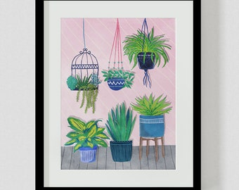 Hanging Pot Plants A4 or A3 Print, Plant, Art, Wall Art, Illustration, Painting