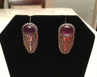 Silver and amethyst cabochon? Earrings
