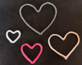 4 small heart in knitting/4 little loom-knitting Hearts