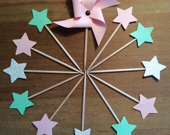 "Cake toppers/pics at happy hour stars and windmill collection ""Everything sweet in pink and green Pastels"""