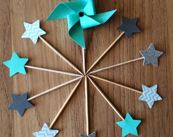 "10 cake toppers collection ""Of green and rafters"" windmills and stars"